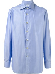 Kiton Chevron Pattern Shirt Blue