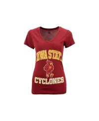 Soffe Women's Iowa State Cyclones V Neck T Shirt Cardinal Red
