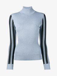 House Of Holland Metallic Ribbed Turtle Neck Jumper Blue Black