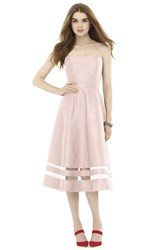 Women's Alfred Sung Illusion Stripe Strapless A Line Midi Dress Pearl Pink