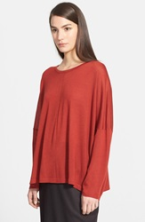 Eskandar Ultra Lightweight Cashmere And Silk Sweater Terracotta Dark