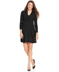 Kensie Dress Long Sleeve Cowl Neck A Line Black