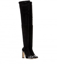 Dolce And Gabbana Suede And Patent Leather Over The Knee Boots Black