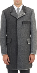 Thom Browne Herringbone Frayed Overcoat Charcoal