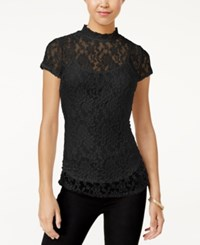 Almost Famous Juniors' Mock Neck Lace Top With Cami Black