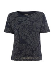 Vero Moda Short Sleeved Pattern Top Navy