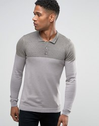 Asos Knitted Colour Block Polo In Muscle Fit Khaki Grey Khaki Green