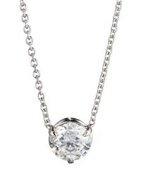 18K White Gold Diamond Solitaire Pendant Necklace 1.01Ctw H Si1