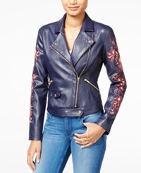 Guess Marvi Embroidered Faux Leather Moto Jacket Evening Navy
