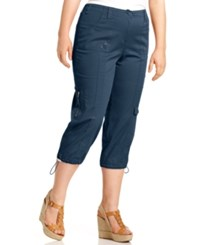 Styleandco. Style And Co. Plus Size Cargo Capri Pants New Uniform Blue