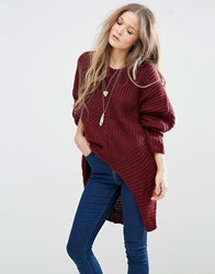 Qed London Oversized Cable Knit Jumper Wine Red