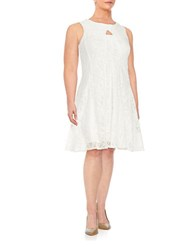 Gabby Skye Plus Lace Fit And Flare Dress Ivory
