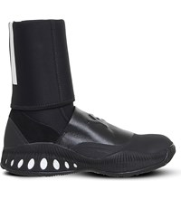 Adidas Y3 Bball Cage Leather And Suede Trainers Black Crystal White
