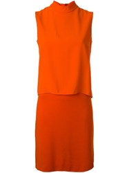 Akris Layered Shift Dress Yellow And Orange