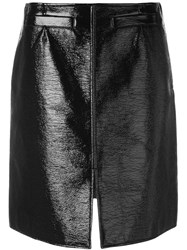 Courreges Front Slit Mini Skirt Black