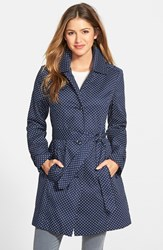 Women's London Fog Polka Dot Single Breasted Trench Coat