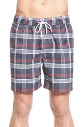 Men's Brooks Brothers 'Stripe Madras Montauk' Swim Trunks Navy