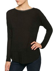 Sanctuary Dillon Embellished Neck Long Sleeve Top Black