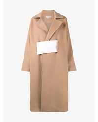 Rejina Pyo Wool Blend Colour Block Coat Beige White Red Camel