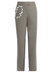 Christopher Kane Smash Pocket Wool Crepe Trousers Grey