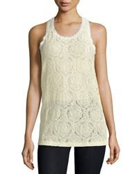 See By Chloe Lace Racerback Tank Off White
