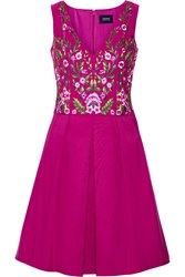 Marchesa Notte Pleated Embroidered Faille Dress Violet Pink