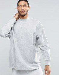 Asos Oversized Longline Sweatshirt With Cut Out Sleeve Detail Grey Marl