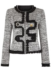 Boutique Moschino Grosgrain Trimmed Tweed Jacket Black And White