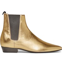 Saint Laurent Devon Metallic Leather Chelsea Boots Gold