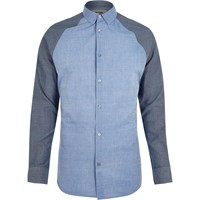 Only And Sons River Island Mens Blue Raglan Sleeve Shirt