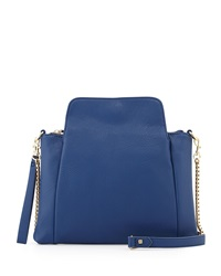 Neiman Marcus Pleated Faux Leather Clutch Cobalt