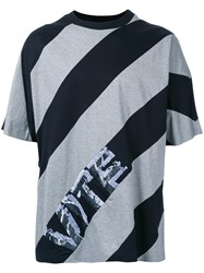 Juun.J Diagonal Stripe T Shirt Black