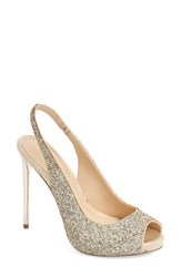 Imagine By Vince Camuto Women's Imagine Vince Camuto 'Pavi' Slingback Peep Toe Pump Crystal Soft Gold