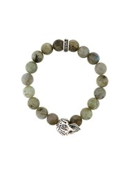 King Baby Studio Beaded Skull Bracelet Green