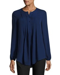 Max Studio Pintucked Georgette Blouse Purple Blu
