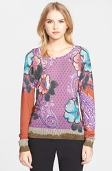 Etro Floral Print Silk And Cashmere Sweater Purple Multi