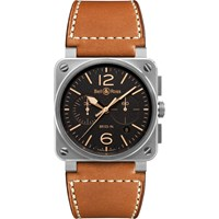 Bell And Ross Br0394 St G He Sca Men's Golden Heritage Chronograph Leather Strap Watch Brown Black