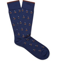 Marcoliani Espresso Patterned Cotton Blend Jacquard Socks Storm Blue
