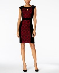 Connected Petite Velvet Lace Inset Sheath Dress Black Red