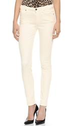 7 For All Mankind Mid Rise Brushed Sateen Skinny Pants Winter White