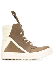 Rick Owens Geobasket Leather Sneakers Nude And Neutrals