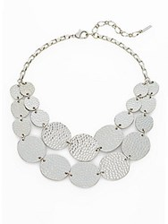 Saks Fifth Avenue Hammered Disc Bib Necklace Silver