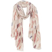 Fat Face Feather Print Sequin Scarf Orange Multi