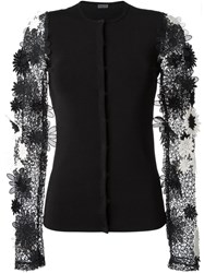 Emanuel Ungaro Flower Applique Sleeve Cardigan Black