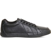 Polo Ralph Lauren Hugh Low Top Leather Trainers Black Leather
