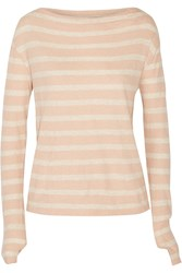 Enza Costa Striped Cotton And Cashmere Blend Top Orange