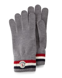 Moncler Logo Striped Cashmere Knit Gloves Gray
