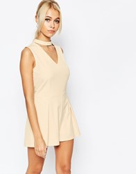 Fashion Union Cut Out Romper Nude