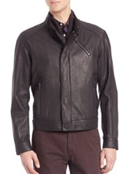 Saks Fifth Avenue Calf And Lamb Leather Zip Front Jacket Black