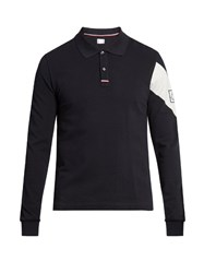 Moncler Gamme Bleu Chevron Print Long Sleeved Cotton Polo Shirt Navy